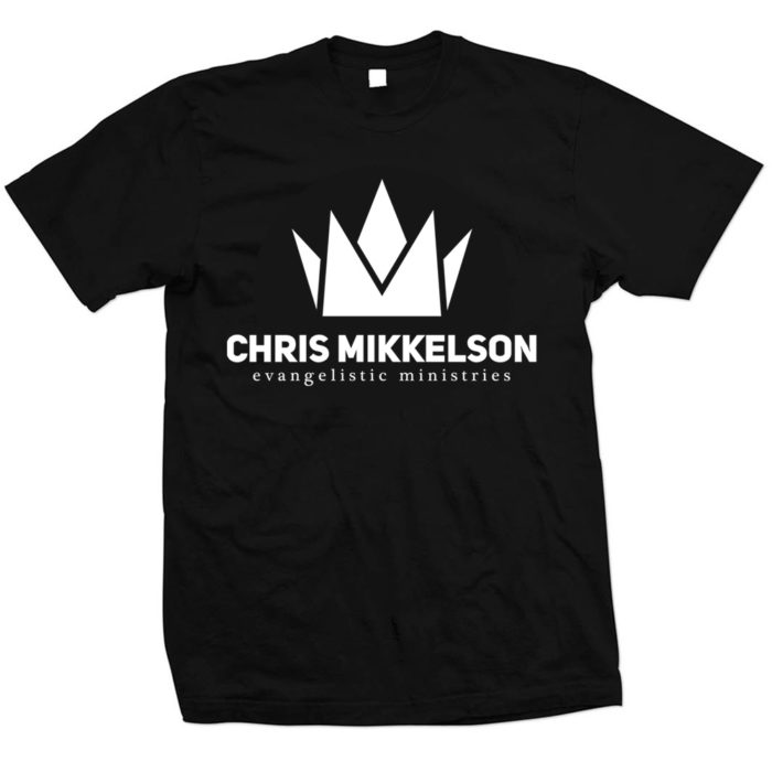 Unisex black short sleeve 100% cotton t-shirt. If you prefer a looser fit, please order one size up as this t-shirt will shrink slightly. Front - Chris Mikkelson Evangelistic Ministries Logo. Back - Chris Mikkelson Evangelistic Ministries Logo. One Mission, One Vision, The Great Commission. ChrisMikkelson.com Our Chris Mikkelson Evangelistic Ministries basic tee. All the proceeds of this t-shirt will go directly to saving souls in unreached countries.